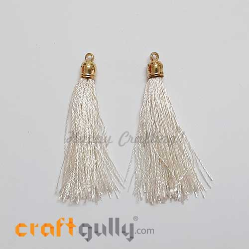 Tassels With Cap 52mm - Off White - Pack of 2