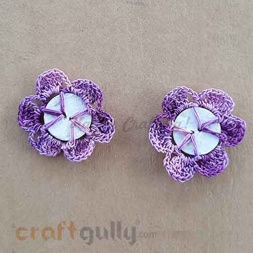 Handmade Flowers Crochet #1 - Purple Shaded With Button - Pack of 2