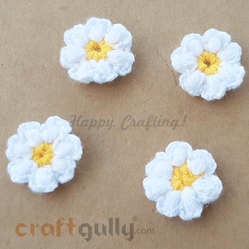 Handmade Flowers Woollen #1 - White & Yellow - Pack of 4