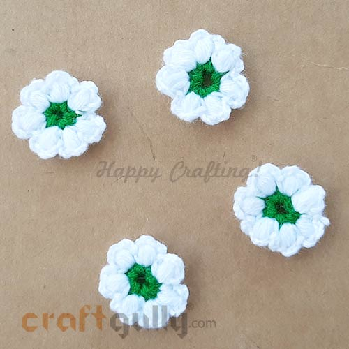 Handmade Flowers Woollen #2 - White & Green - Pack of 4