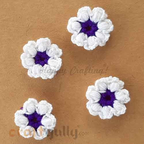 Handmade Flowers Woollen #3 - White & Purple - Pack of 4