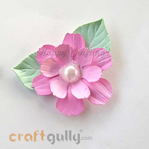 Handmade Flowers Paper #1 - Pink With Pearl - Pack of 2