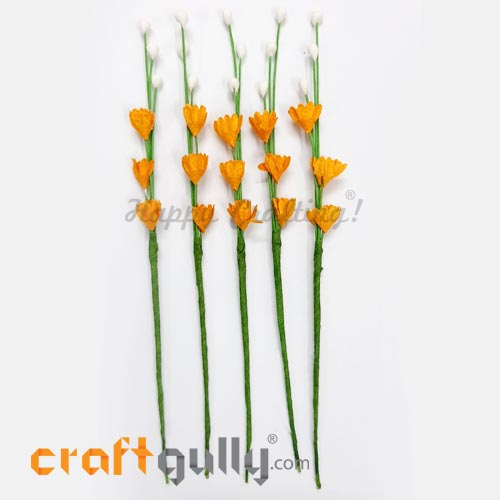 Artificial Flowers Paper 120mm - Deco Sprig #2 - Orange - Pack of 5