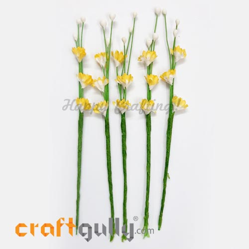 Artificial Flowers Paper 120mm - Deco Sprig #2 - Sh. Yellow - Pack of 5