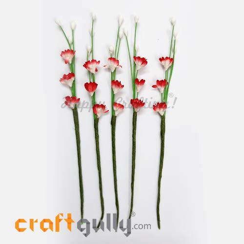 Artificial Flowers Paper 120mm - Deco Sprig #2 - Sh. Red - Pack of 5