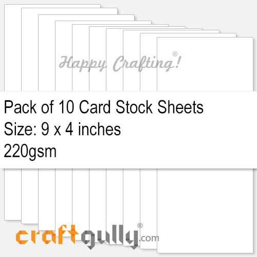 CardStock 9x4 - Snow White 220gsm - Pack of 10