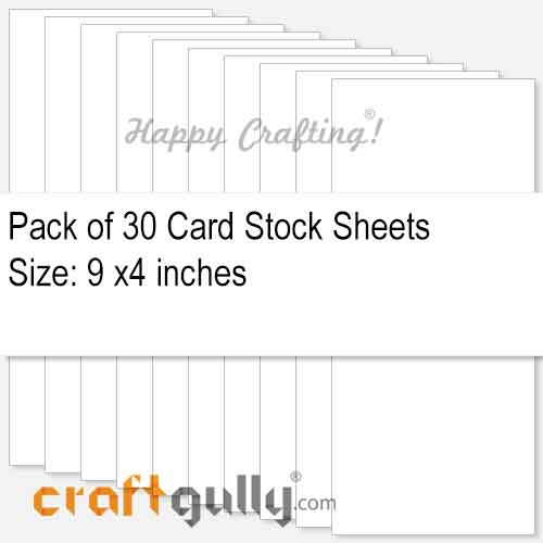 CardStock 9x4 - Snow White 220gsm - Pack of 30