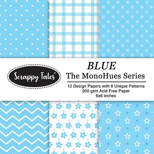 Pattern Paper 6x6 - MonoHues Series - Blue - Pack of 12