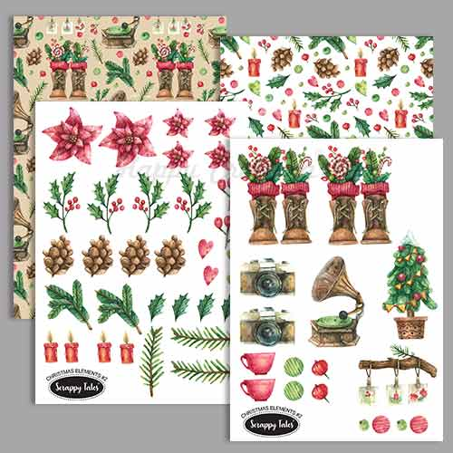 Paper Elements A5 - Christmas Elements #2 - Pack of 4 sheets