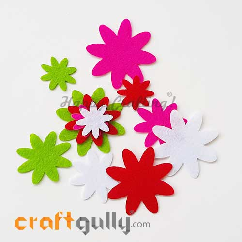Felt Shapes - Flower #2 - Assorted - Pack of 12