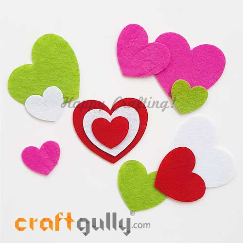 Felt Shapes - Heart - Assorted - Pack of 12