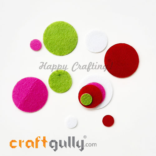 Felt Shapes - Round - Assorted - Pack of 12