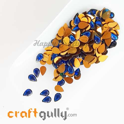 Kundan Stones 7mm - Drop - Ink Blue – 10gms