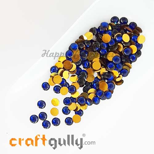 Kundan Stones 5mm - Round - Royal Blue #2 – 10gms