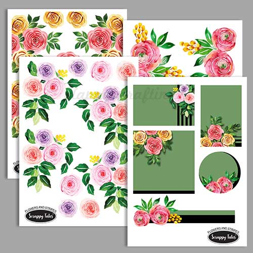 Paper Elements A5 - Flowers & Stripes - Pack of 4 sheets