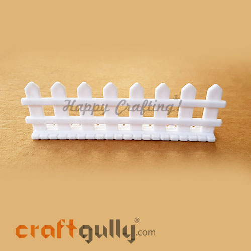Miniature Garden Fence #4 - White - 84mm