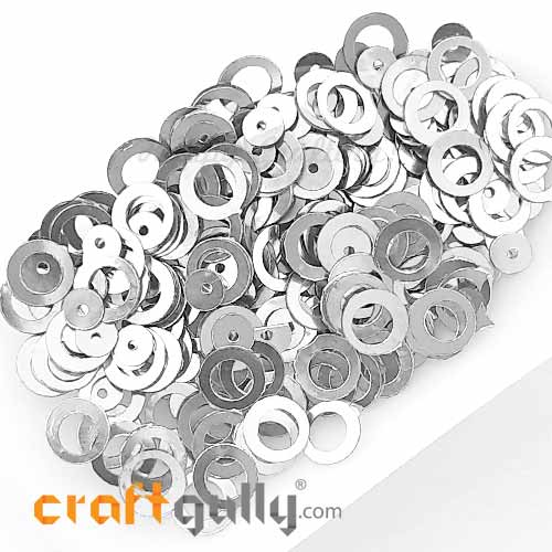 Sequins 7.5mm - Ring #2 - Metallic Silver - 20gms
