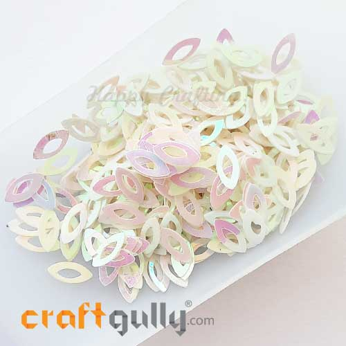 Sequins 9.5mm - Marquise #1 - White Rainbow - 20gms