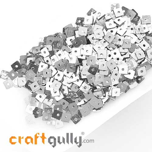 Sequins 4mm - Square #1 - Metallic Silver - 20gms