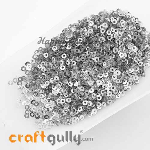 Sequins 2.5mm - Round Flat #1 - Metallic Silver - 20gms