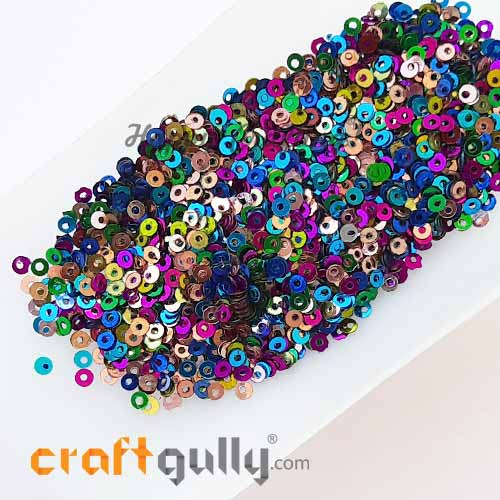 Sequins 2.5mm - Round Flat #2 - Metallic Assorted - 20gms