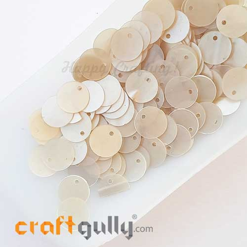 Sequins 9mm - Round Flat #5 - White Pearl - 20gms