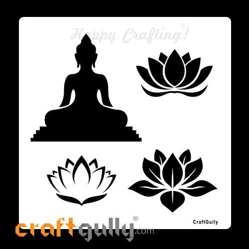 Stencils 6x6 inches - Silhouette #2 - Buddha