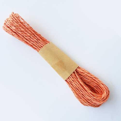 Paper Rope 2mm - Dark Peach & Zari - 10 meters