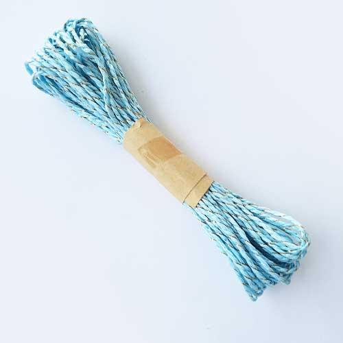 Paper Rope 2mm - Light Blue & Zari - 10 meters