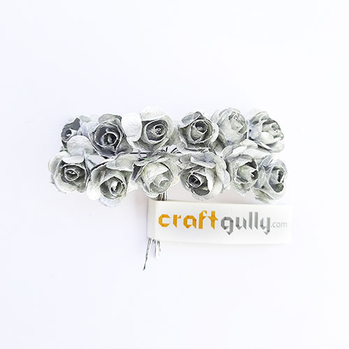 Paper Flowers 18mm - Rose - Metallic Silver - 12 Roses