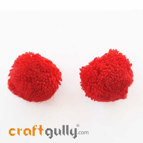Pom Poms 32mm - Dark Red - Pack of 2