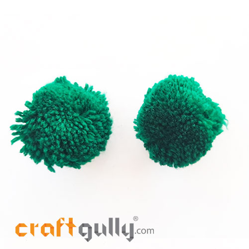 Pom Poms 32mm - Dark Green - Pack of 2