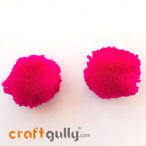 Pom Poms 32mm - Dark Pink - Pack of 2