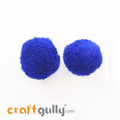 Pom Poms 32mm - Royal Blue - Pack of 2