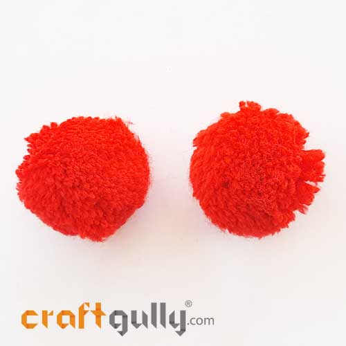 Pom Poms 32mm - Vermilion Red - Pack of 2
