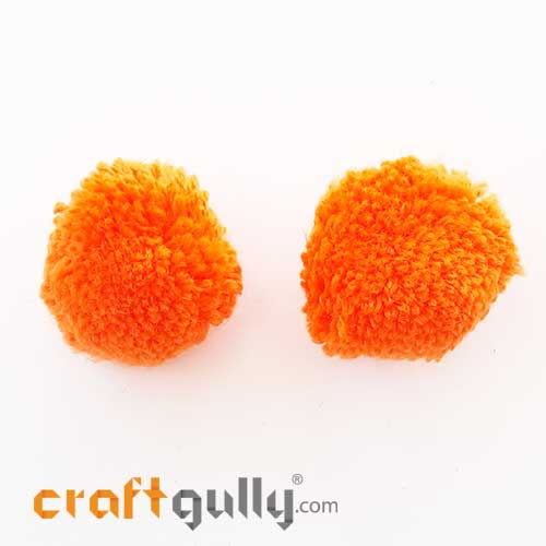 Pom Poms 32mm - Orange - Pack of 2
