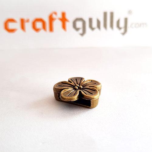 Slide Charms 16mm Metal - Flower - Bronze - Pack of 1