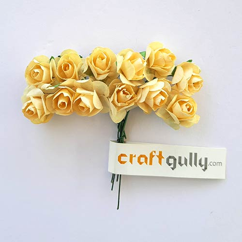 Paper Flowers 18mm - Rose - Cream - 12 Roses