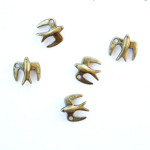 Charms 22mm Metal - Bird #5 - Bronze - Pack of 5