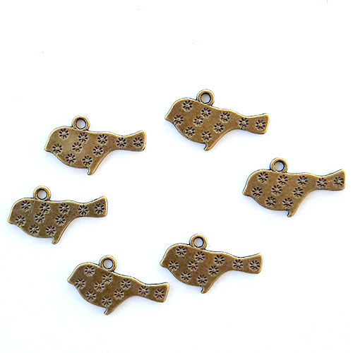 Charms 19mm Metal - Bird #8 - Bronze - Pack of 6