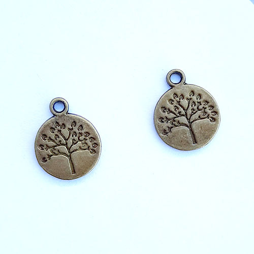Charms 18mm Metal - Tree #4 - Bronze - Pack of 2