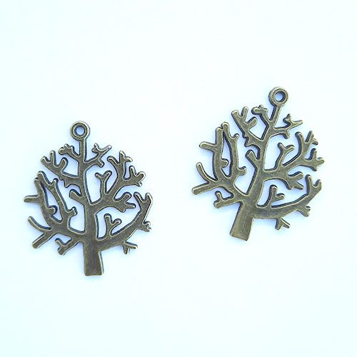 Charms 32mm Metal - Tree #5 - Bronze - Pack of 2