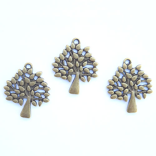 Charms 28mm Metal - Tree #7 - Bronze - Pack of 3
