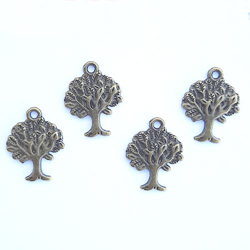 Charms 21mm Metal - Tree #9 - Bronze - Pack of 4