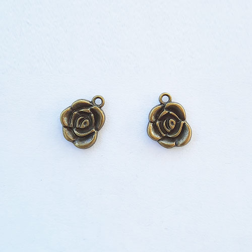 Charms 17mm Metal - Flower #1 - Bronze - Pack of 2