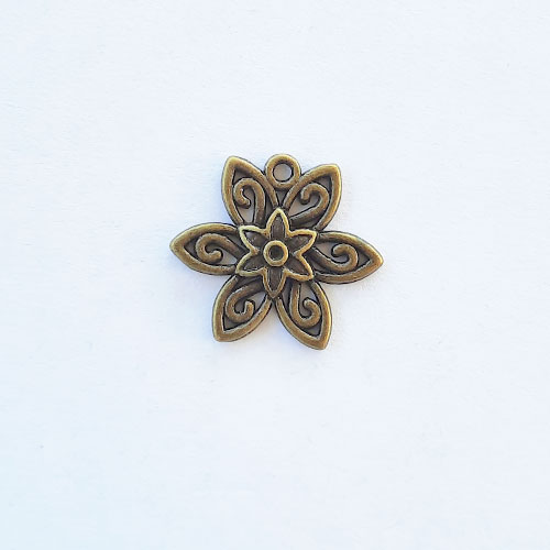 Charms 21mm Metal - Flower #5 - Bronze - Pack of 1