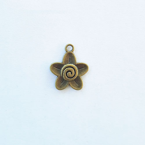 Charms 22mm Metal - Flower #6 - Bronze - Pack of 1