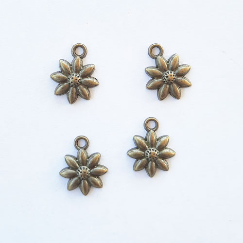 Charms 18mm Metal - Flower #8 - Bronze - Pack of 4
