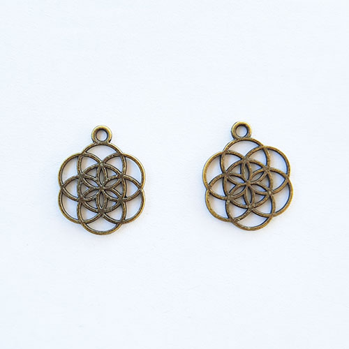 Charms 25mm Metal - Flower #11 - Bronze - Pack of 2