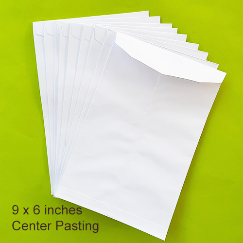 Envelopes 9 x 6 inches - White - Centre - Pack of 10